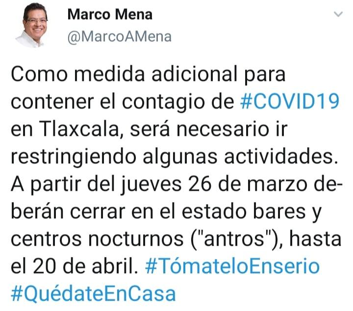 ANUNCIA MARCO MENA CIERRE DE BARES Y CENTROS NOCTURNOS COMO MEDIDA ADICIONAL POR COVID-19