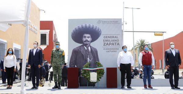 Preside el Gobernador Miguel Barbosa Ceremonia Conmemorativa al CI Aniversario de Emiliano Zapata
