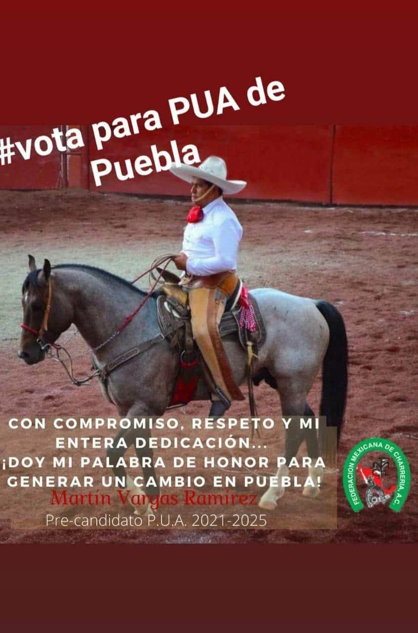 Recibe muestras de apoyo y Simpatía de los Charros de Puebla Martin Vargas Ramírez para ser el nuevo PUA