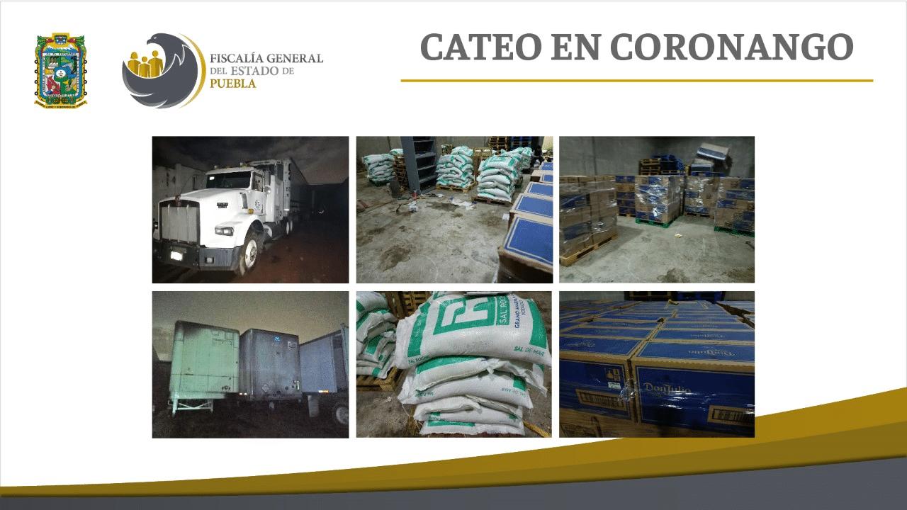 Fiscalía Puebla cateó en Coronango inmueble con mercancía robada