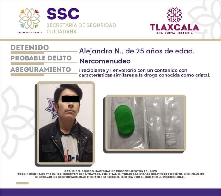 POLICÍA ESTATAL DETIENE A PRESUNTO RESPONSABLE DE DELITOS CONTRA LA SALUD